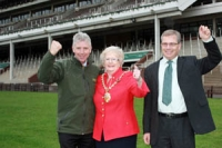 Ed Gillespie with the mayor of Cheltenham and Councillor Andrew McKinlay at the racecourse