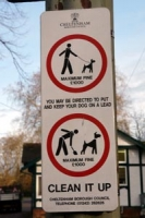 Dog fouling sign in Pittville park