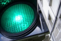 Close-up of a green traffic light