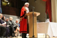 Mayor Colin Hay standing up and speaking at his Inauguration May 2012