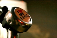 Silver bicycle bell displaying the text 'I heart my bike'