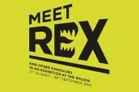 Logo for Meet Rex exhibition at the Wilson