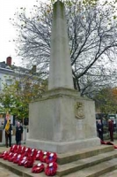 Remembrance service at war memorial