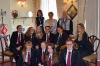 Pittville School students visiting the Mayor's parlour after giving a presentation for International Women's Day