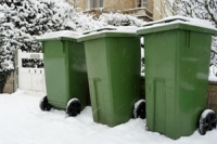 Bins in the snow