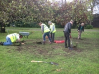 volunteers digging in memorial gardens