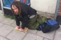 Local man Alan Dainton begging on Cheltenham street