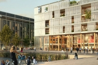 Artists impression of cyber central garden community showing the cyber hub, people and water feature