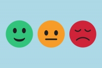 3 emoticon faces: green smiling face, orange neutral face and red sad face