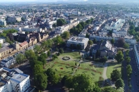 Aerial view of Cheltenham's Imperial Gardens and surrounding streets