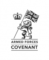 Armed forces covenant logo - drawing of a lion holding a union flag next to a crown