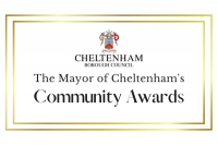 Image with the text 'The Mayor of Cheltenham's community awards' and the Mayor of Cheltenham's logo with a gold border