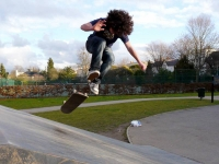 Young person on a skate ramp in Montpellier Gardens