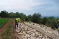 building dry stone wall on Leckhampton Hill